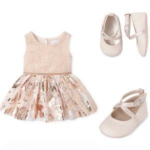 NWT • Children's Place Foil Dress + Ballet Flats